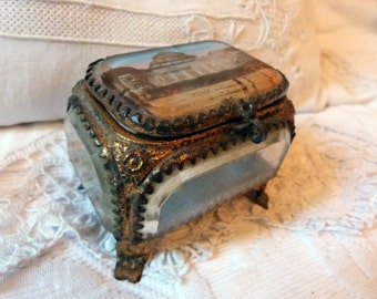 Antique French ormolu box trinket box jewelry box w casino of Vichy print w pearl French box w silk padded cushion, antique keepsake box