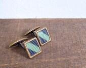20% CNY SALE - Vintage 60's Square Cuff Links in Navy Blue & Seafoam Green Stripe
