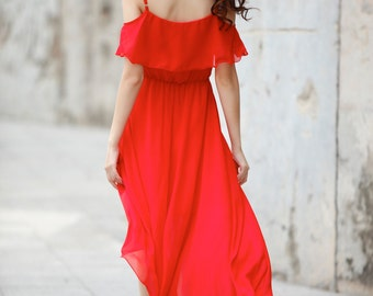 Red Beach Dress , Chiffon Party Dress, Bridesmaid Dress - NC730