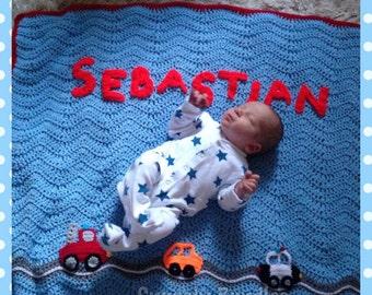Personalised Crochet Baby Car Blanket