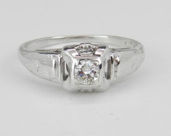 Antique Art Deco 14K White Gold Solitaire Genuine Diamond Engagement Ring Size 5.25