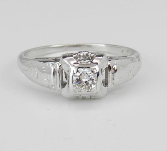 Antique Art Deco 14K White Gold Solitaire Genuine Diamond Engagement Ring Size 5.25