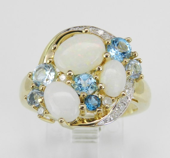 Diamond Opal and Blue Topaz Cluster Cocktail Ring Yellow Gold Size 7 October Stone