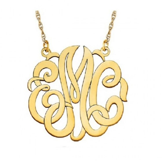 Monogram Pendant Necklace Name Plate Name Tag Initials Personalized Jewelry Sterling Silver Gold Tone