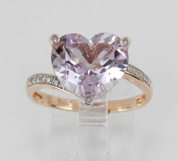 """Heart Amethyst """"Rose De France"""" and Diamond Engagement Ring Promise 14K Rose Pink Gold Size 7.25"""