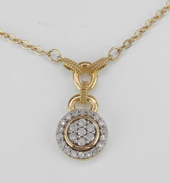 "Diamond Cluster Necklace Drop Halo Wedding Pendant Yellow Gold 16.5"" Chain"