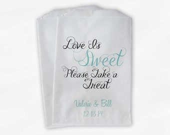 Love Is Sweet Take a Treat Personalized Wedding Candy Buffet Treat Bags - Favor Bags in Light Teal and Black - Custom Paper Bags (0101)