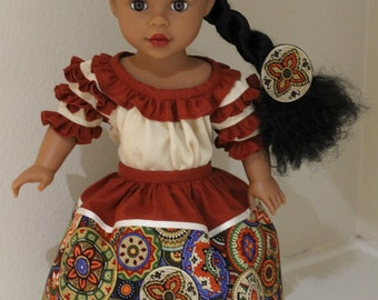 Pretty skirt and Camisa set perfect for Josefina or any 18 inch doll.