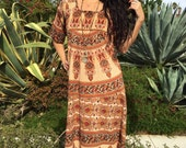 Vintage Indian Dress// Cotton Dress Circa 1970s //Handmade Kaftan 3/4 Sleeve