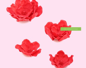 SALE! RED Flower Wall Supplies - Wedding & Birthday Backdrops - Set of 4