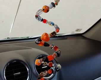 Car Bobble in Orange Black White Beads