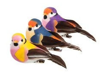 Set of three x 7.5cm assorted feathered birds.