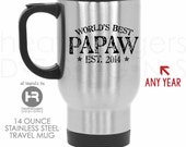 Worlds Best Papaw Stainless Steel Travel Coffee Mug - Papaw Coffee Mug  Father's Day Gift - Papaw Birthday Gift or Papaw Christmas Gift