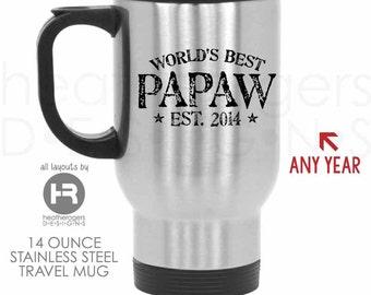 Worlds Best Papaw Stainless Steel Travel Coffee Mug - Papaw Coffee Mug  Father's Day Gift - Papaw Birthday Gift or Papaw Christmas Gift