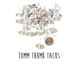 100 pieces - Tie Tacks - 10mm - Push Pins - Thumb Tack Blanks - Glueable Pad - 9mm length