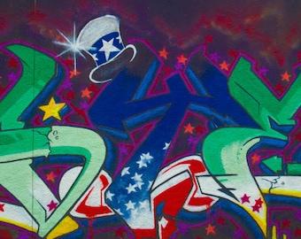 graffiti green and blue wall photo print photography 11x14