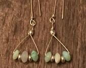 Peruvian Blue Opal Earrings, Wire Wrapped Sterling Silver, opal earrings, Rustic hand made Sundance Style Earrings