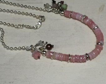 Pink Opal - Sterling Silver - Ball Chain Necklace - Gemstone Dangles - Artisan Jewelry Sundance Style