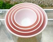 Vintage Pink Pyrex 400 Series Nesting Bowls, Set of 4