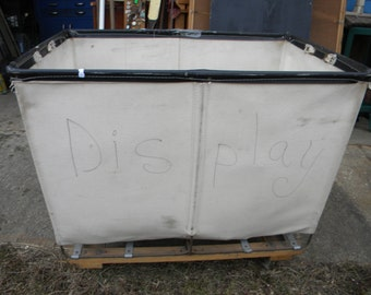 great shape vintage commercial industrial rolling storage LAUNDRY CART BIN on wheels pick up only