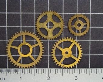 Mixed Lot of 4 Brass Clock Gears, Antique Clock Mechanism Gears, Vintage Clockwork Wheels, Cogs Steampunk Art Supplies 03979