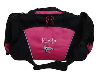 Duffel Bag Personalized Karate Girl Martial Arts Kung Fu Tae Kwon Do Asian Kick Boxing Gym