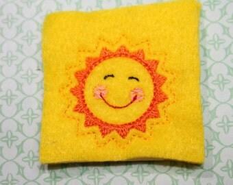 Happy smiling sun shine feltie, Summer sun felt stitchies, Yellow sunshine embellishment for scrapbooking, bows,