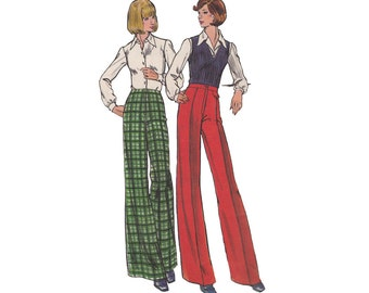 1970s Proportioned Pants Butterick 3689 High Waist Wide Straight Leg Pants Waist 28 Hip 38 Full Figure Vintage Sewing Pattern
