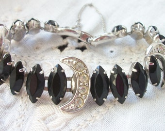 Vienna Bracelet ~ Sarah Coventry Black Rhinestones  ~ Dazzling Sparkle ~ Silver tone ~ Safety Chain