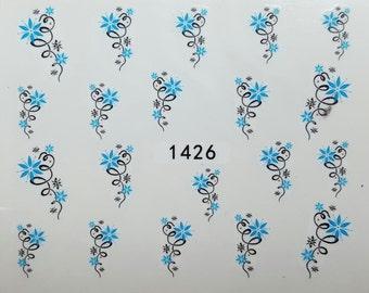 Nail Art Water Decal / Sticker Blue Flowers