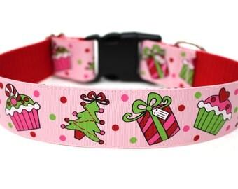 """Holiday Dog Collar 1.5"""" Pink Christmas Dog Collar"""