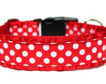 """Polka Dot Dog Collar 1.5"""" Ruffle Dog Collar"""