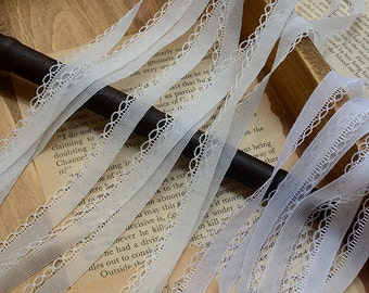 """40 meter 1.1cm 0.43"""" wide ivory/white mesh gauze tulle tapes lace trim ribbon 16296 free ship"""