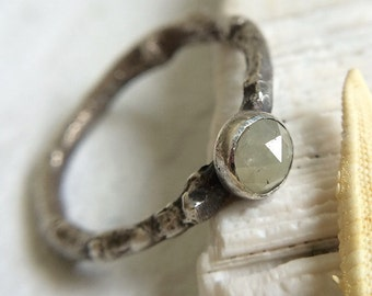 Pale Yellow Diamond & Sterling Silver Engagement Ring - Size 6.5 - .5ct Rose Cut Dainty Twig / Branch Botanical Solitaire  - Rustic Wedding