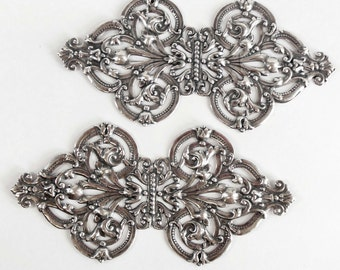 Brass Filigree Blank, Brass Filigree, Bracelet Base, Cuff Base, Antique Silverplate, US Made, Bsue Boutiques, 5 Inches Long, Item08095