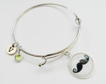 Mustache Charm Bracelet, Charm Bangle, Personalized, Initial, Birthstone Bracelet, Jewelry, Silver Wire Bangle, Mustache Bracelet, Stackable