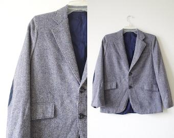 HERRINGBONE navy grey little boys fitted tailored BLAZER velvet elbow pads TWEED jacket women's S