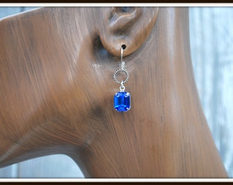 Blue Rhinestone Earrings, Sapphire Blue Rhinestone Earrings, Octagon Rhinestone Earrings, Dark Blue Earrings, Rhinestone Earrings, Blue Drop