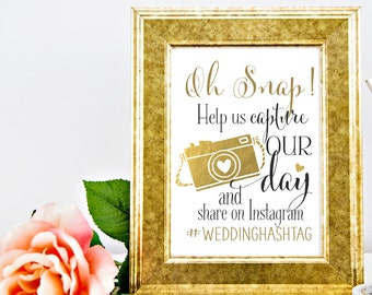 Instagram Wedding Sign | Personalized Wedding Hashtag PRINTABLE | Instant Download