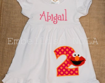 Elmo Number Applique Birthday Knit Ruffle Dress Elmo Party Dress Elmo Birthday Party Theme