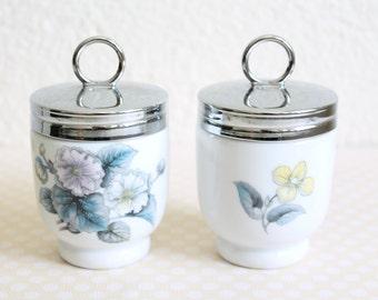 """Royal Worcester Porcelain Egg Coddler, """"Woodland"""" Pattern, Set of 2"""