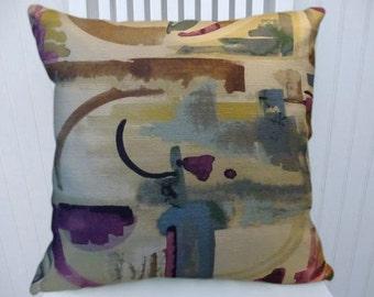 Blue, Purple, Brown Decorative Throw Pillow Cover- 18x18 or 20x20 or 22x22- Abstract Pillow Cover- Accent Pillow