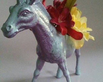 Horse - Zebra - Small Planter in Sky Blue and Purple - Office Decor - Great for Air Plants