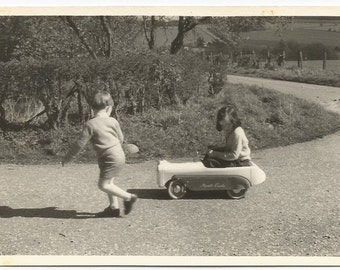 Vintage Photo - Pedal Car - Vintage Snapshot - Little Boy and Girl Playing - Toys - Original Found Photo - Collectibles - Photography