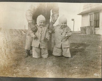 "Vintage Photo ""Kewpie Doll Look-Alikes"" Twin Girls Knit Hats Found Vernacular Photo"