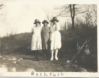 "Vintage Snapshot ""Bashfull"" Our Gang - Shy Young Girl - Caption Photo - Girlfriends - Antique Found Vernacular Photo"