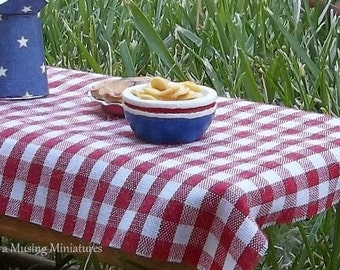 YOUR CHOICE  Bowl of Potato Chips in 1:12 Scale for Dollhouse Miniature Picnic or Fourth of July Roombox