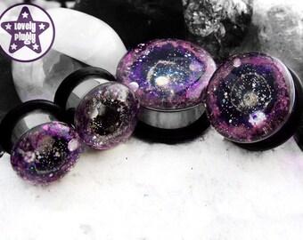 "Supernova Remnant Galaxy Plug / Gauge Pink Purple Space / Nebula / Glitter Stars 3/4"", 7/8"", 1"" / 19mm, 20mm, 22mm, 24mm, 25mm"