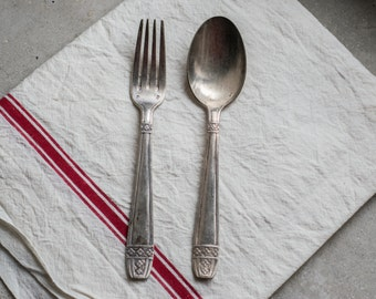 Vintage French Silverware Cutlery, Silver Plate Fork & Spoon