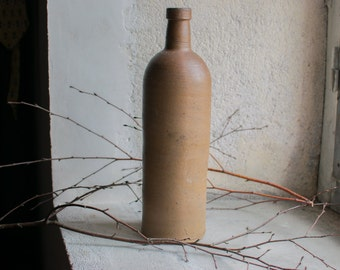 Vintage French Stoneware Bottle // Rustic Brown Country Decor // Ceramic Bottle